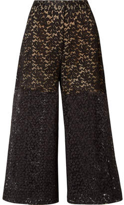 Stella McCartney Cropped Corded Cotton-blend Lace Wide-leg Pants - Black