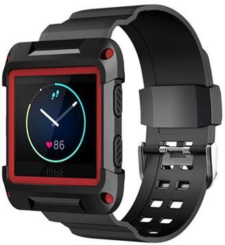 Fitbit Mignova Silicone Sports Style Replacement Classic Bracelet Wrist Strap Watch Band with Resilient Protective Case Cover for Blaze Smart Fitness Watch(Black)