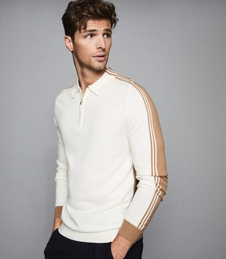 Reiss SILVERTHORN LONG SLEEVED ZIP NECK POLO SHIRT Ecru
