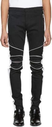 Balmain Black and White Slim Biker Jeans