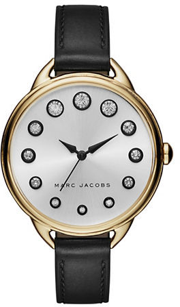 Marc Jacobs Marc Jacobs Betty Goldtone Stainless Steel Leather Strap Watch, SLMLG36IPGBLSTR
