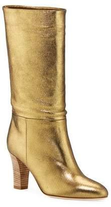 Sarah Jessica Parker Reign Metallic Leather Block-Heel Boots