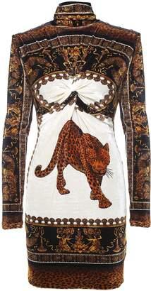 Versace Leo-print Stretch-velvet Mini Dress