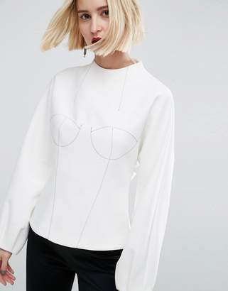 Asos Long Sleeve Bodice Top With Stitch Detail
