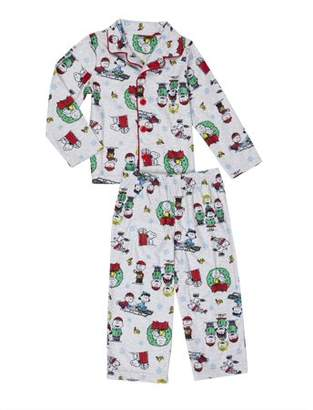 Peanuts Snoopy & Friends Christmas Button-up Coat Style Classic Pajamas, 2pc Set (Toddler Boys)