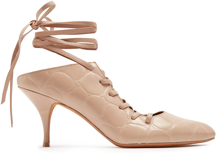 GIVENCHY Lace-up crocodile-effect leather pumps