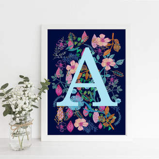Mary's House Designs Botanical Initial Fine Art Print