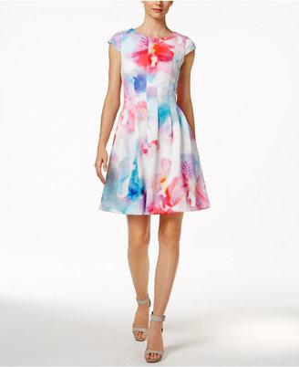 Calvin Klein Floral-Print Fit & Flare Dress $134 thestylecure.com