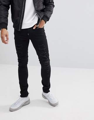 Ascend Denim Super Skinny Muscle Fit Jeans in Extreme Rips