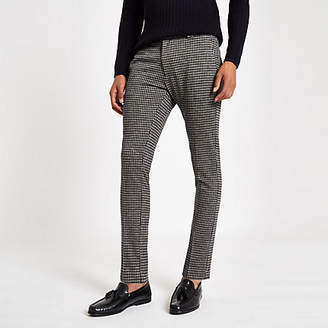 River Island Mens Navy check super skinny smart trousers