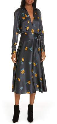 Equipment Vivienne Print Faux Wrap Silk Dress