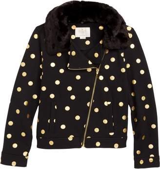 Kate Spade dot faux fur moto jacket