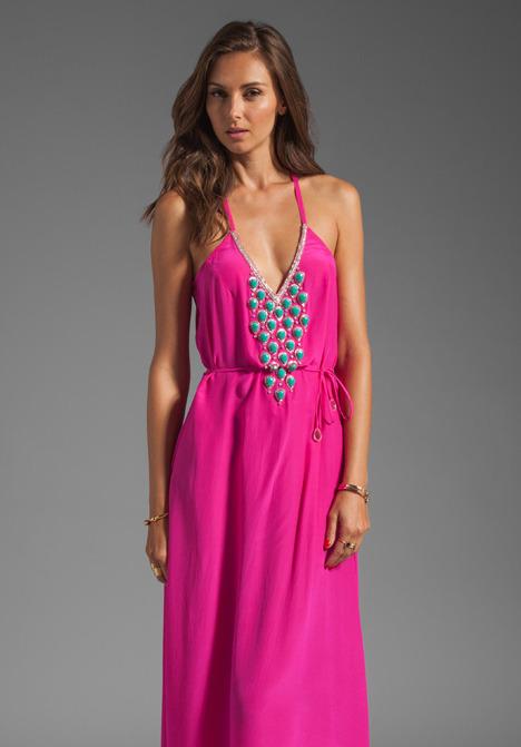Karina Grimaldi Santa Maria Beaded Maxi Dress