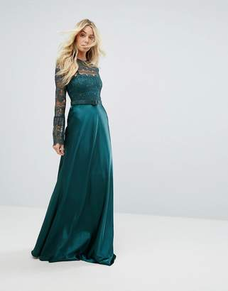 Body Frock Bodyfrock Lace Long Sleeve Maxi Dress With Satin Skirt