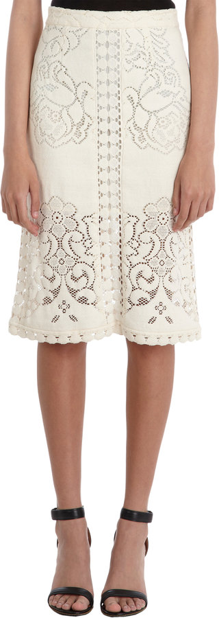 Sea Open Floral Knit Pencil Skirt