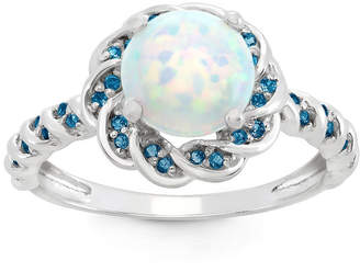 FINE JEWELRY Simulated Opal & Genuine London Blue Topaz Sterling Silver Ring
