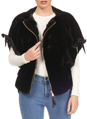 Tsoukas Short Tie-Sleeve Mink Fur Jacket