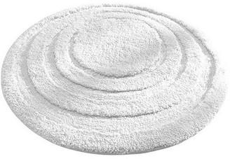 """InterDesign Microfiber Round Bathroom Shower Accent Rug, 24"""", White"""
