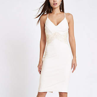 River Island White lace insert bodycon midi dress