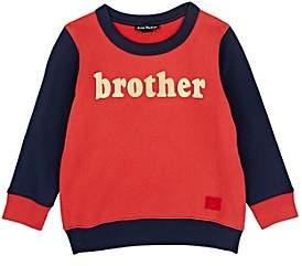 "Acne Studios Kids' Mini Fairview ""Brother"" Cotton Sweatshirt-Red"