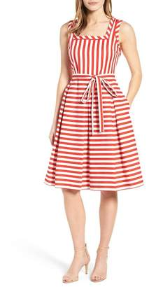 Anne Klein Stripe Fit & Flare Dress