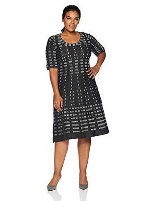 f0d9ef9901124 Gabby Skye Women's Plus Size Elbow Sleeve Scoop Neck Sweater Fit&Flare Dress