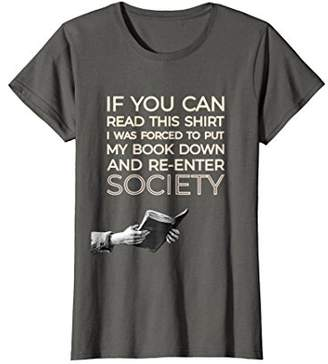 Womens If You Can Read This... Funny Shirt | Gift for Bibliophiles Large