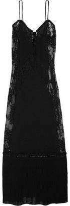 McQ Alexander McQueen - Lace-paneled Chiffon Maxi Dress - Black $830 thestylecure.com