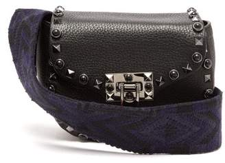 Valentino Guitar Rockstud Rolling Leather Belt Bag - Womens - Black Navy