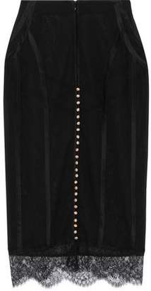 Kiki de Montparnasse Lace-trimmed Silk-blend Chiffon Pencil Skirt