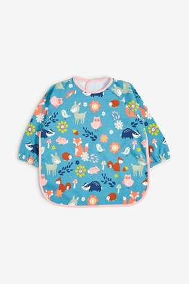Next Girls Teal/Pink Woodland Character Long Sleeved Dribble Proof Bib - Blue