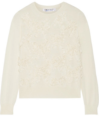 Bow-appliquéd Wool Sweater - Off-white