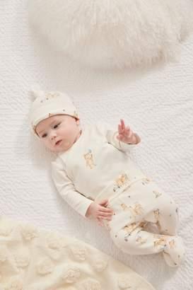 Next Boys Cream 3 Piece Bear Bodysuit, Leggings And Hat Set (0-9mths) - Cream