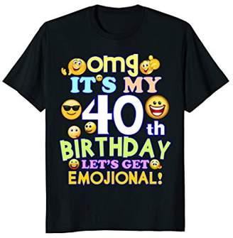 Mens Its my 40th Birthday Funny Emoji 40th Birthday T Shirt Gift Large
