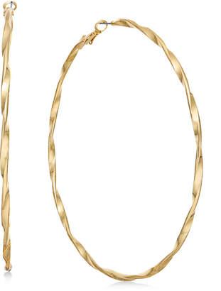 "Thalia Sodi Extra Large Gold-Tone Twist Hoop Earrings 4"""