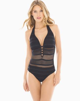 Bleu Rod Beattie Sheer Thing Halter One Piece Swimsuit