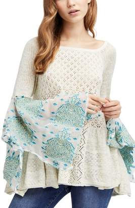 Free People Pointelle Breeze Bell Sleeve Top