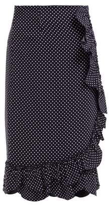 Rebecca Taylor Polka Dot Ruffled Pencil Skirt - Womens - Navy White