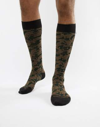 Antony Morato socks in khaki with tiger print