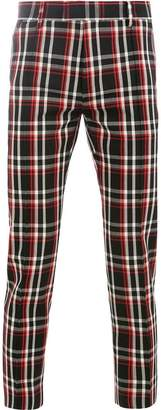 Undercover check fitted trousers