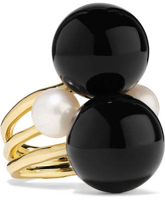 Ippolita Nova 18-karat Gold, Onyx And Pearl Ring
