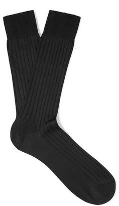 Pantherella Asberley Ribbed Silk-Blend Socks - Men - Black