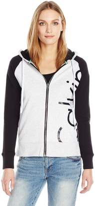 Calvin Klein Women's Plus Sizesolid Cut Off Logo Zip Front Jacket