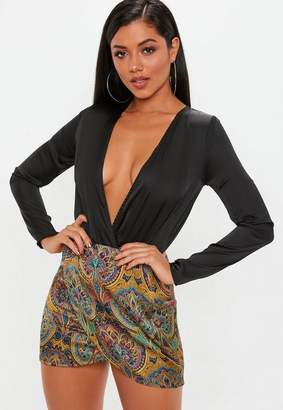Missguided Yellow Paisley Print Asymmetric Mini Skirt