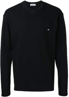 Stone Island logo embroidered sweatshirt