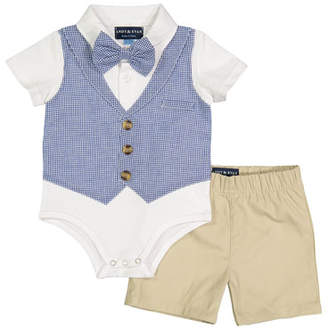 Andy & Evan Gingham Vest Shirtzie Bodysuit w/ Matching Shorts, Size 3-26 Months