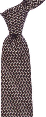 Salvatore Ferragamo Black Geometric Dog Silk Tie