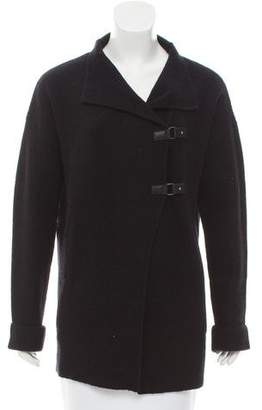 360 Leather-Trimmed Wool & Cashmere Cardigan