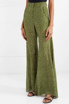 Adriana Degreas Millie Punti Polka-dot Silk Crepe De Chine Wide-leg Pants - Green