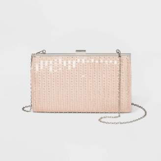 Estee & Lilly Striped Bead Oversized Frame Clutch - Champagne